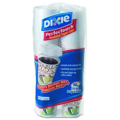 Dixie Combo Bag, 10oz Paper Hot Cups (Pack of 50 Cups and 50 Lids)