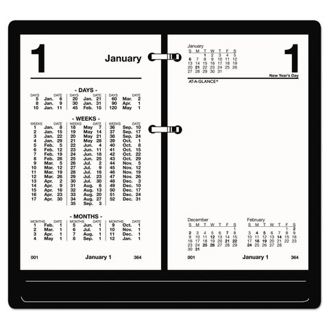 AT-A-GLANCE Financial Desk Calendar Refill, 3 1/2 x 6, White, 2019