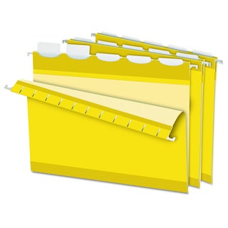 Pendaflex Colored Reinforced 1/5 Tab Yellow Hanging Folders (Box of 25)