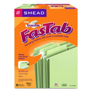 Smead 1/3-Cut Erasable FasTab Moss Hanging Folders (Box of 20)