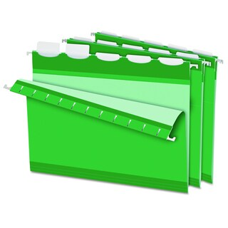 Pendaflex Colored Reinforced 1/5 Tab Bright Green Hanging Folders (Box of 25)