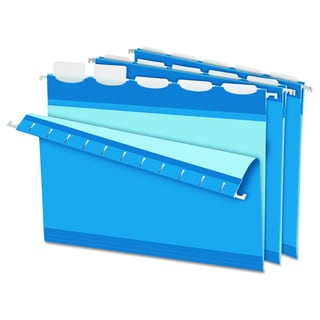 Pendaflex Colored Reinforced 1/5 Tab Blue Hanging Folders (Box of 25)
