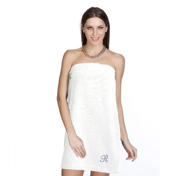 Authentic Hotel and Spa Turkish Cotton Terry Monogrammed White Womens Spa and Shower Towel Wrap