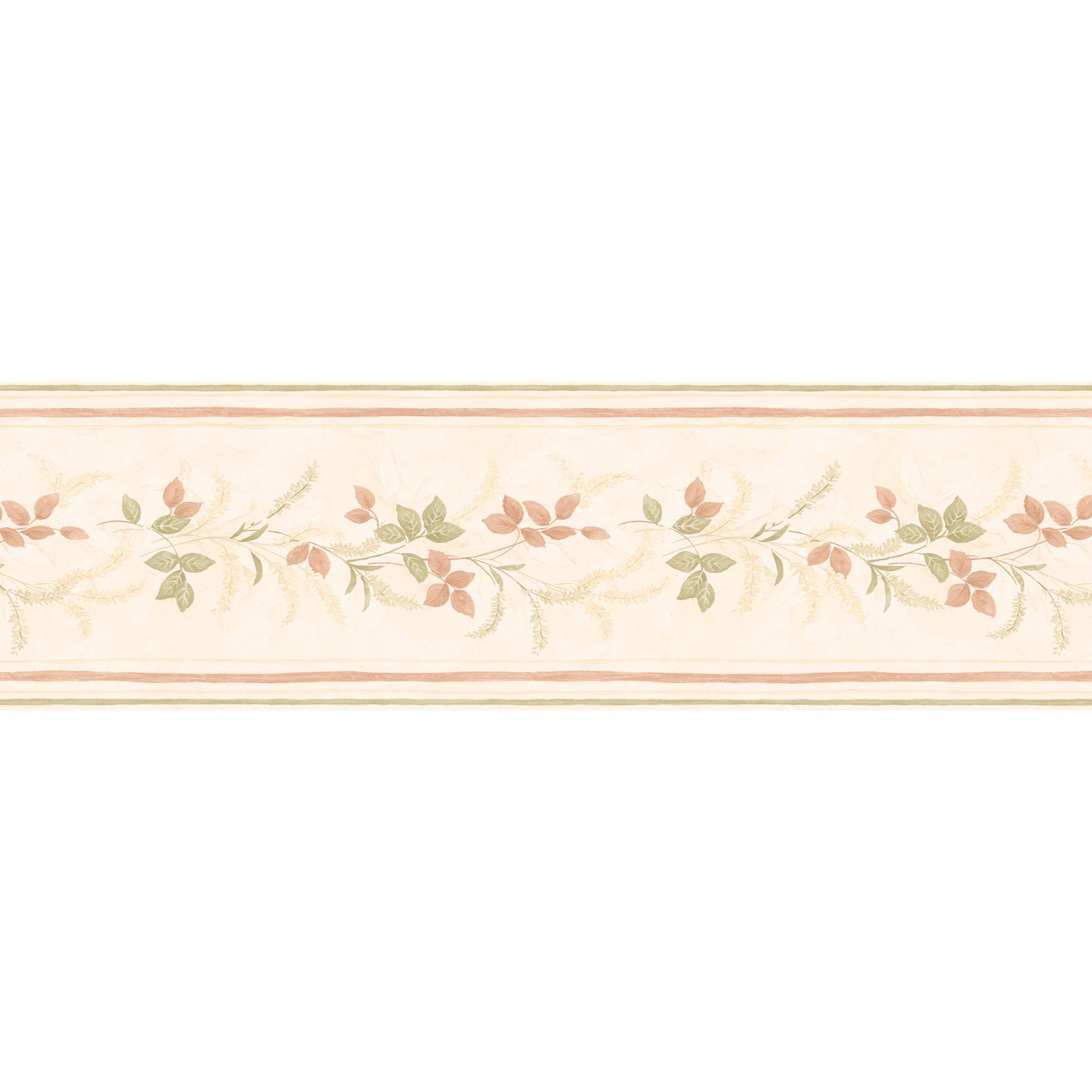 Brewster Peach Leaf Wallpaper Border, Beige Off-White