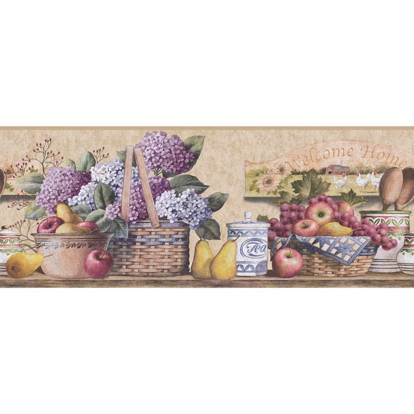 Purple fruit and floral kitchen wallpaper border free for Purple kitchen wallpaper