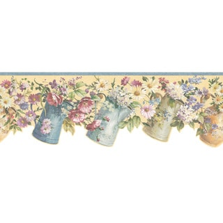 Multicolor Flower Pitcher Wallpaper Border