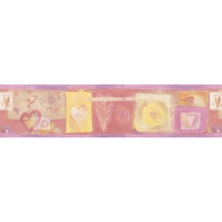 Violet Hearts Wallpaper Border