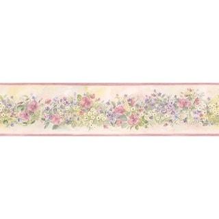Pink Floral Garden Wallpaper Border