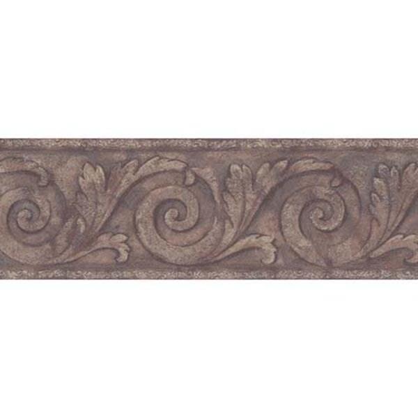 Brewster Chocolate Scroll Wallpaper Border, Brown