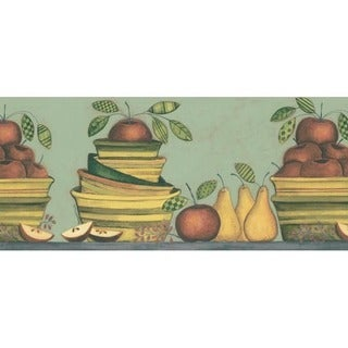 Green Apple and Pear Wallpaper Border