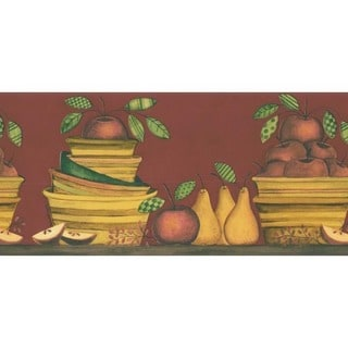 Red Apple and Pear Wallpaper Border