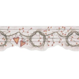 Cream Heart and Wreath Wallpaper Border
