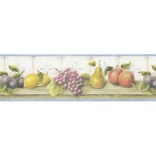 Blue Fruit Shelf Wallpaper Border