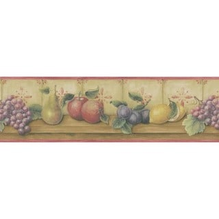 Red Fruit Shelf Wallpaper Border