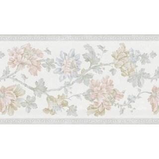 Light Green Floral Scroll Wallpaper Border