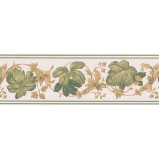 Green Leaf Scroll Wallpaper Border
