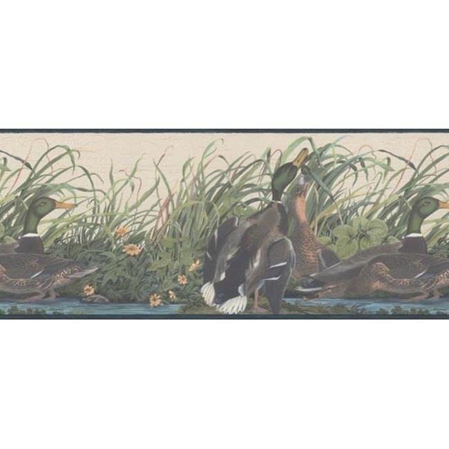 Brewster Blue Mallard Duck Wallpaper Border, Beige