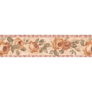 Red Country Rose Wallpaper Border