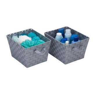 Honey-Can-Do 2pk Woven Bins, Silver