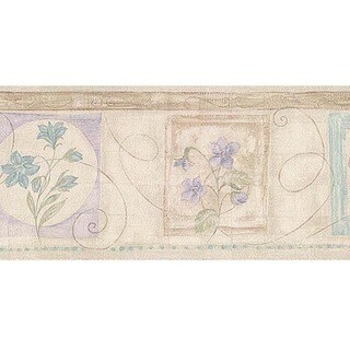 Neutral Vintage Floral Wallpaper Border