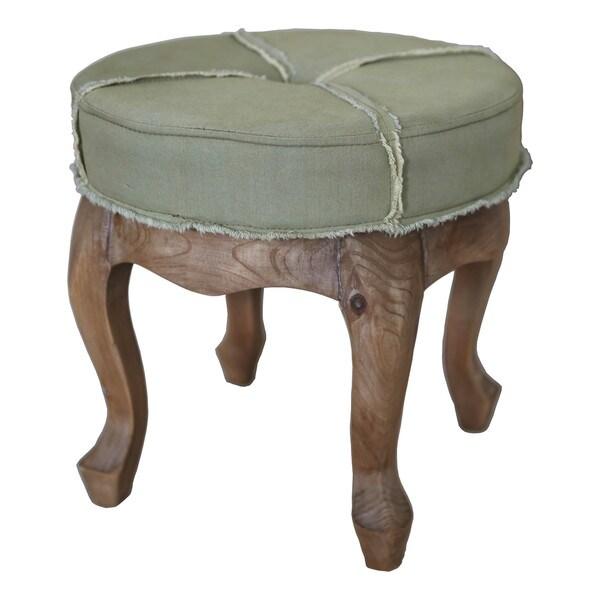 Elements Rubbed Medium Brown Wood Ottoman ~ International caravan rustic elegance inch sage round