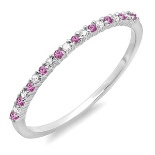 14k White Gold 1/6ct Pink Sapphire and White Diamond Dainty Stackable Band