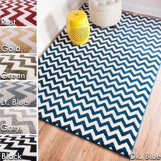 Well Woven Bright Trendy Twist Modern Chevron Zig Zag Air Twisted Polypropylene Rug (5'3 x 7'3)