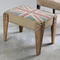 International Caravan Union Jack Antique Upholstered Bench