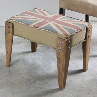 International Caravan Union Jack Antique Upholstered Bench