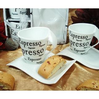 D'Lusso Designs Four Piece Espresso Design Biscotti Saucer Espresso Set