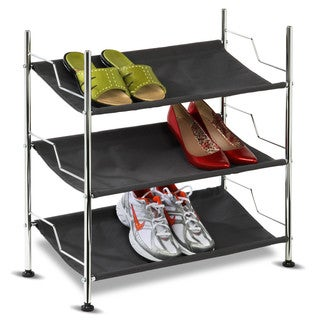Honey-Can-Do 3 Tier Shoe Rack-Black Shelves