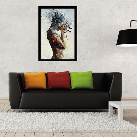 Deliberation (24-inch x 36-inch) with Contemporary Poster Frame - Brown