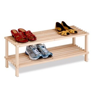 Honey Can Do 2-Tier Natural Wood Shoe Rack