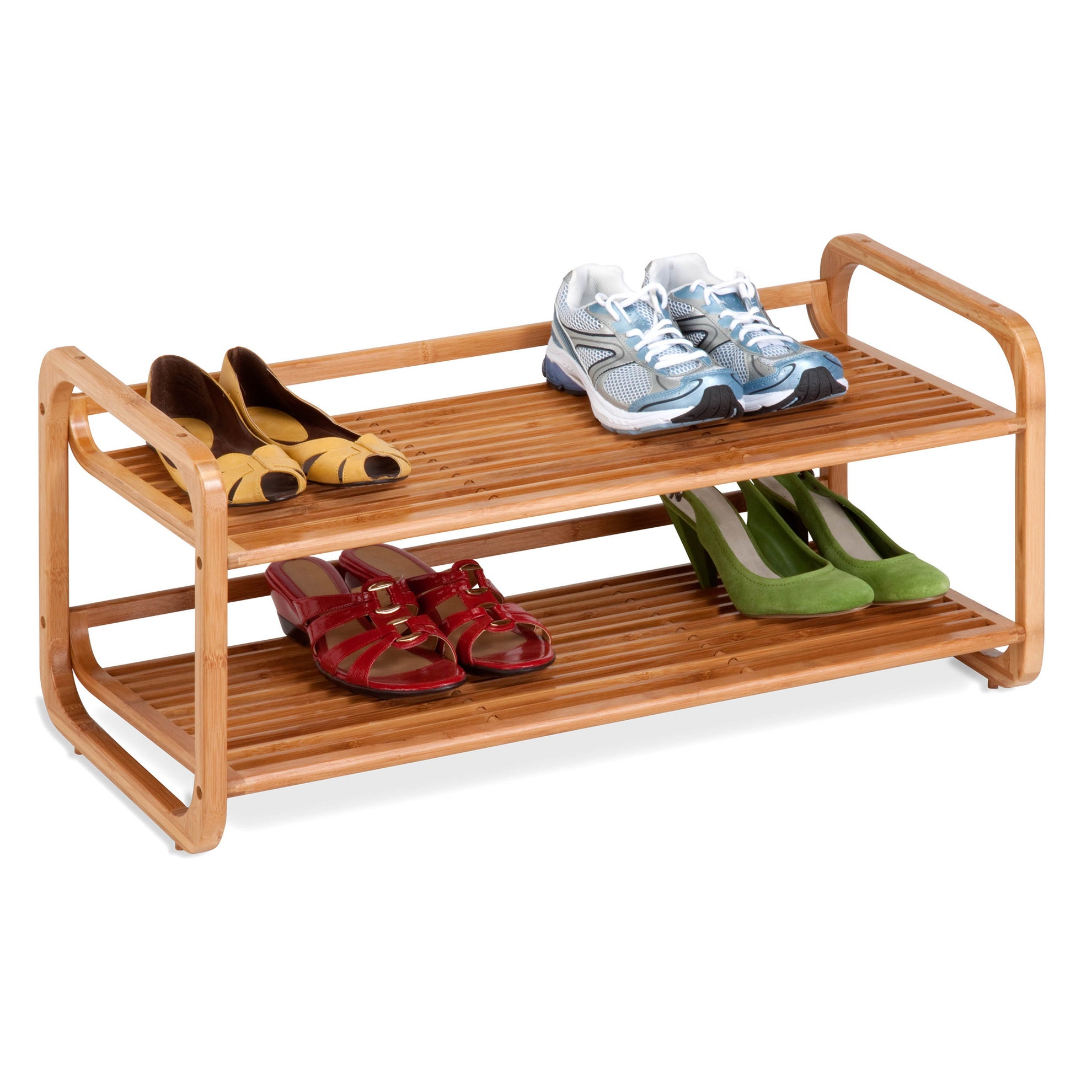 Honey-Can-Do Bamboo 2-tier Shoe Rack (bamboo), Brown (Pla...