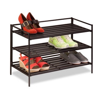 3-Tier Stackable Shoe Rack Brn