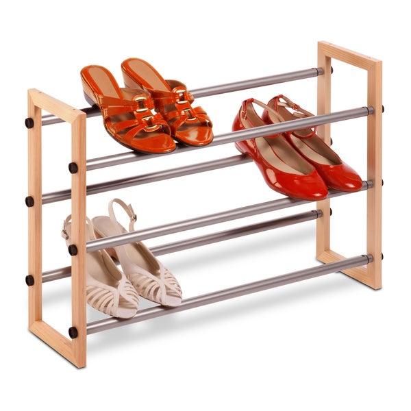 Honey-Can-Do 3-Tier Wood & Metal Shoe Rack