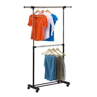 Honey-Can-Do GAR-01767 Adjustable 2-Rod Garment Rack
