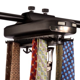 Honey-Can-Do HNG-02948 Battery Powered Revolving Tie and Belt Rack