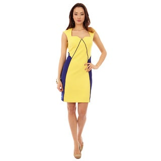 Women's Sweatheart Neckline Colorblock A-Line Sheath Dress