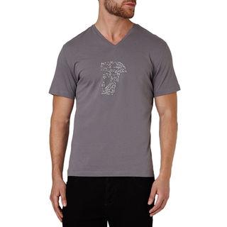 Versace Men's Grey Cotton Studded Medusa Short Sleeve T-shirt