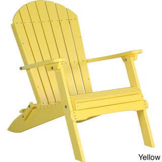 Deluxe Poly Folding Adirondack Chair (Option: Yellow)