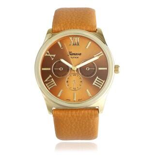 Geneva Platinum Roman Numeral Leather Strap Quartz Watch - Brown