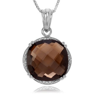 Journee Collection Sterling Silver Smoky Topaz Diamond Accent Pendant