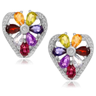 Journee Collection Sterling Silver Multi-gemstone Post Earrings
