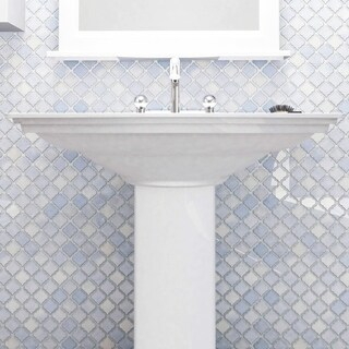 SomerTile 12.375x12.5-inch Antaeus Frost Blue Porcelain Mosaic Floor and Wall Tile (Case of 10)
