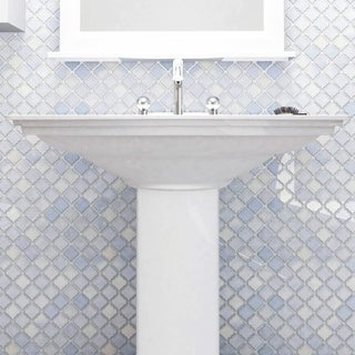 SomerTile 12.375x12.5 Inch Antaeus Frost Blue Porcelain Mosaic Floor And  Wall Tile