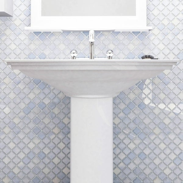 SomerTile 12.375x12.5-inch Antaeus Frost Blue Porcelain Mosaic Floor and Wall Tile (10 tiles/10.7 sqft.)