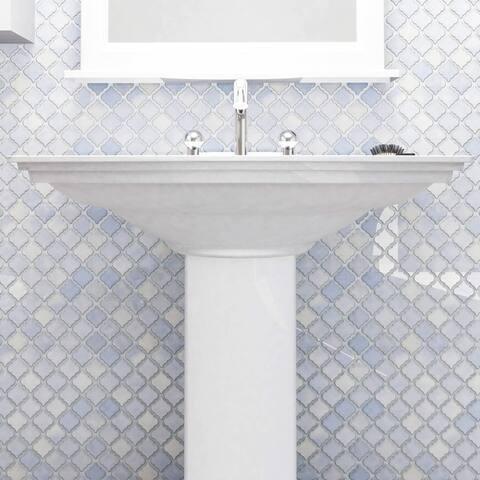 SomerTile 12.375x12.5-inch Antaeus Frost Blue Porcelain Mosaic Floor and Wall Tile (10 tiles/10.7 sqft.)