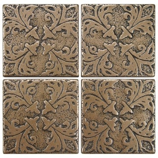 SomerTile 2x2-inch Courant Bouquet Bronze Tozetta Medallion Metal Floor and Wall Insert Tile (Pack o