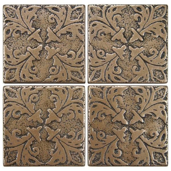 SomerTile 2x2-inch Courant Bouquet Bronze Tozetta Medallion Metal Floor and Wall Insert Tile ...